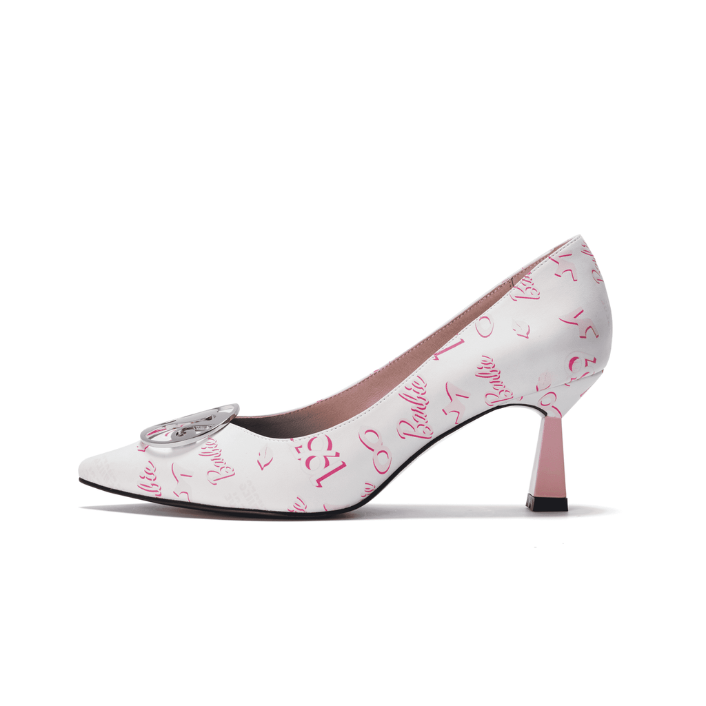 Ladies Allover Barbie Spool Heel Pumps 5418 White - House of Avenues - Designer Shoes Online 香港女鞋網店