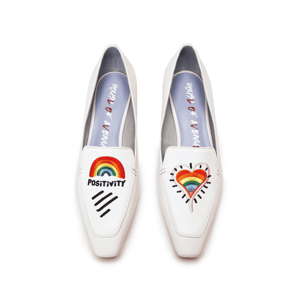 Ladies Rainbow Embroidery Loafer 5507 White - House of Avenues - Designer Shoes | 香港 | 女鞋 House of Avenues