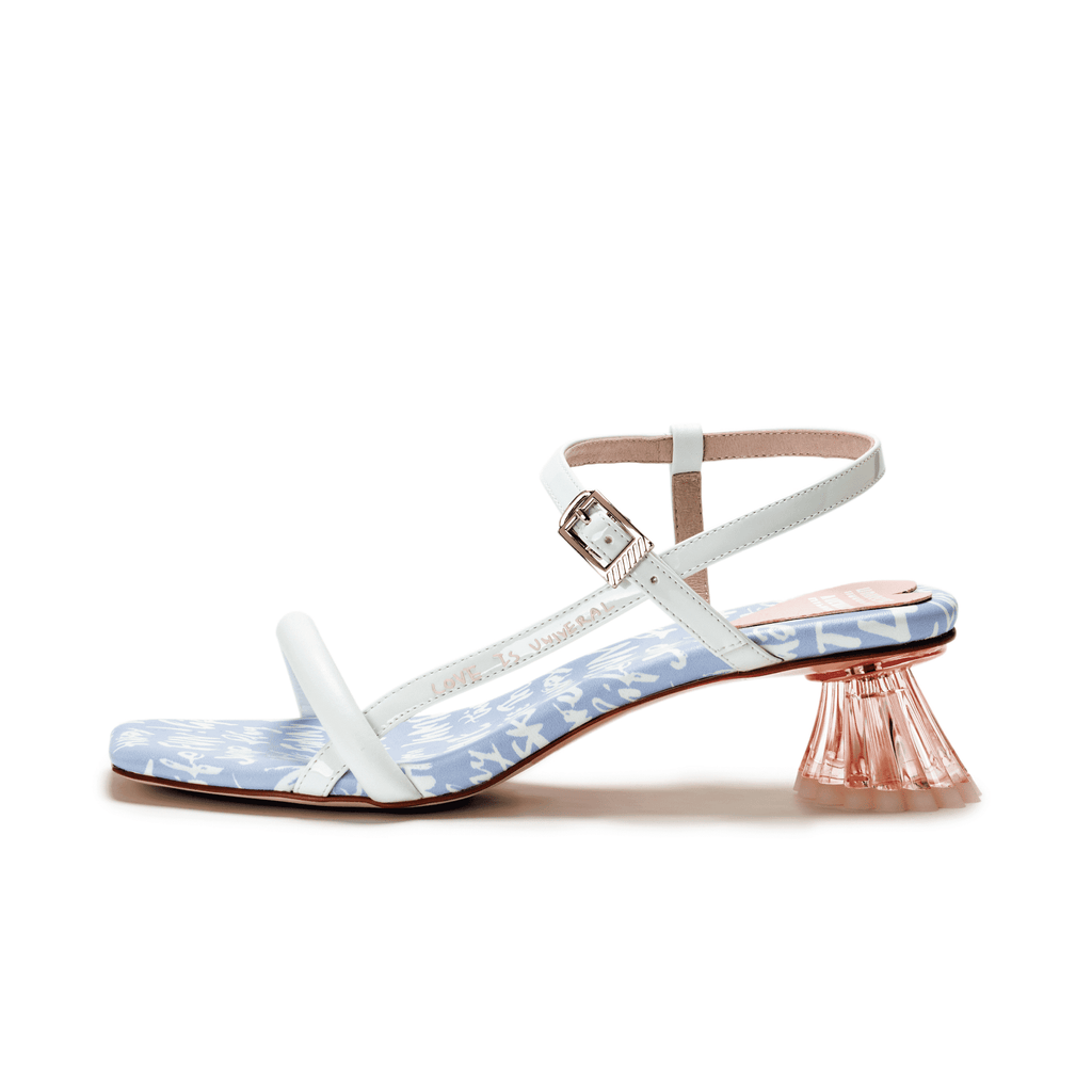 Ladies Allover Print Vase Heel Sandal 5513 Light Blue - House of Avenues - Designer Shoes | 香港 | 女鞋 House of Avenues