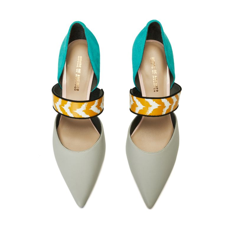 Ladies Color Blocking Mary Jane Pumps 5521 Grey - House of Avenues - Designer Shoes Online 香港女鞋網店