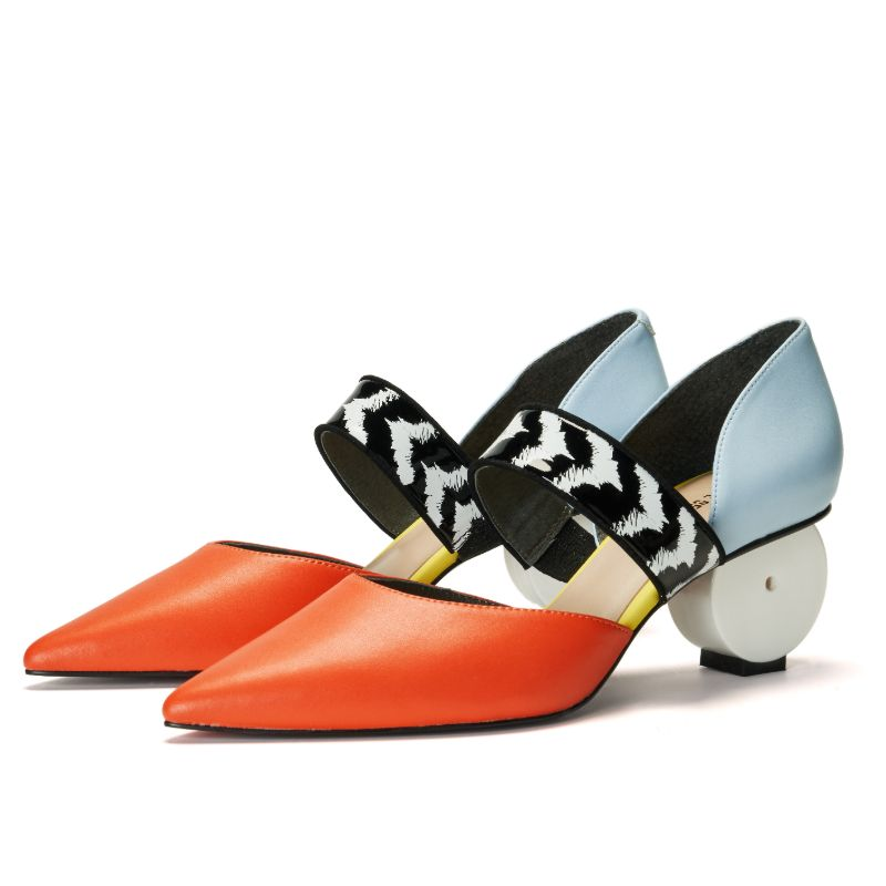 Ladies Color Blocking Mary Jane Pumps 5521 Orange - House of Avenues - Designer Shoes | 香港 | 女鞋 House of Avenues