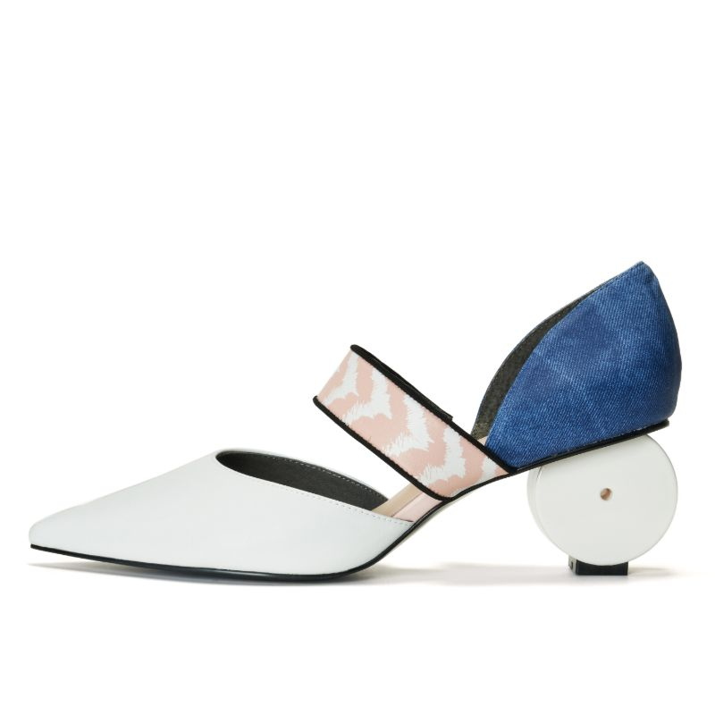 Keep Art Alive Ladies' Color Blocking Mary Jane Pumps 5521 White - House of Avenues - Designer Shoes Online