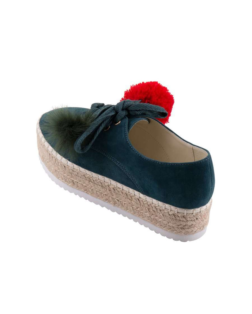 SUEDE POM POM LACE UP ESPADRILLE OXFORD 5038 - House of Avenues - Designer Shoes Online
