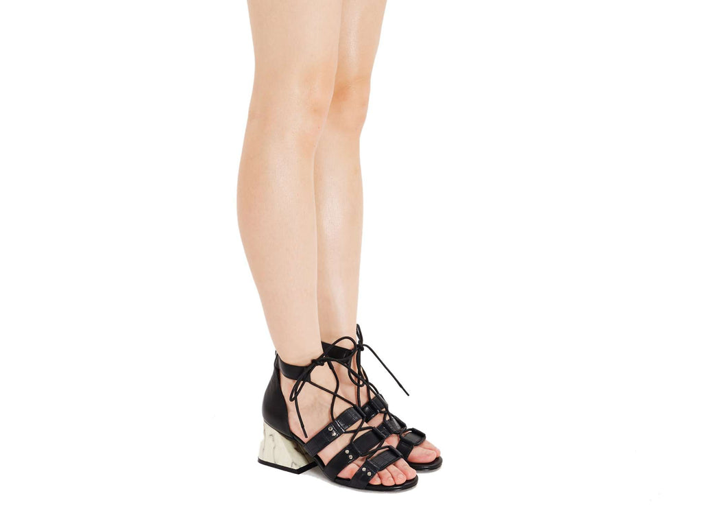 Lace Up Front Heel Sandal 5282 - House of Avenues - Designer Shoes Online
