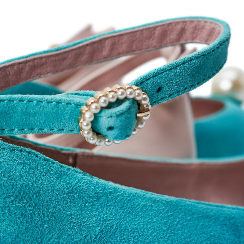 Ladies Ankle Strap Flat Pumps 5289 Teal - House of Avenues - Designer Shoes | 香港 | 女鞋 House of Avenues
