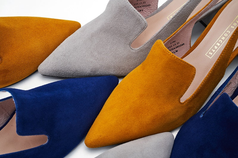 Ladies' Suede Block Heel Slingback Pumps 5249 Grey - House of Avenues - Designer Shoes Online 香港女鞋網店
