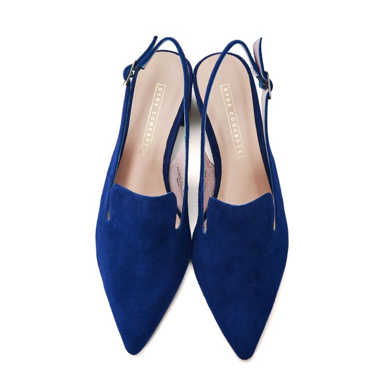 Ladies' Suede Block Heel Slingback Pumps 5249 Navy - House of Avenues - Designer Shoes | 香港 | 女鞋 House of Avenues