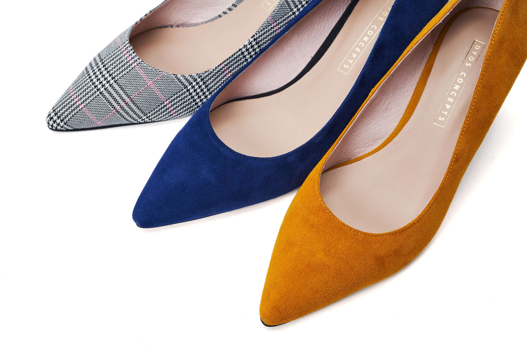 DC Ladies' Checked Flared Heel Pumps 5291 Navy - House of Avenues - Designer Shoes | 香港 | 女鞋 House of Avenues