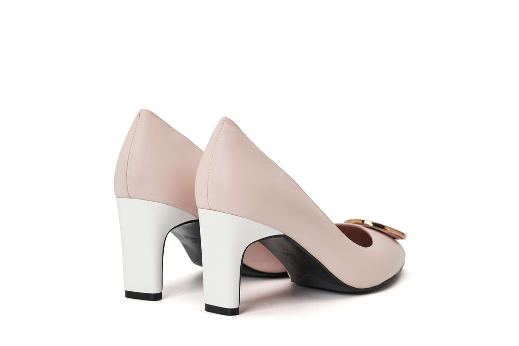 DC Ladies' Metal Badge On Toe Heel Pumps 5290 Pink - House of Avenues - Designer Shoes | 香港 | 女鞋 House of Avenues