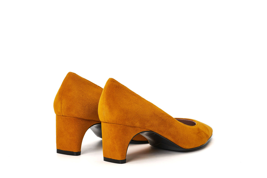 DC Ladies' Checked Flared Heel Pumps 5291 Yellow - House of Avenues - Designer Shoes Online