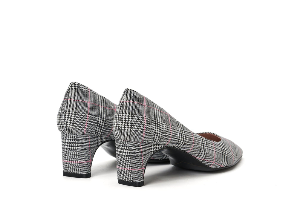 DC Ladies' Checked Flared Heel Pumps 5291 Grey - House of Avenues - Designer Shoes Online 香港女鞋網店