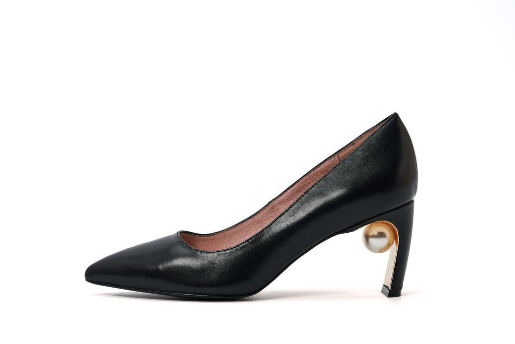 Black Leather PUMP 5251 - House of Avenues - Designer Shoes Online