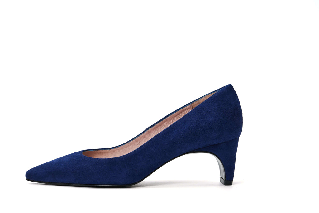DC Ladies' Checked Flared Heel Pumps 5291 Navy - House of Avenues - Designer Shoes Online 香港女鞋網店