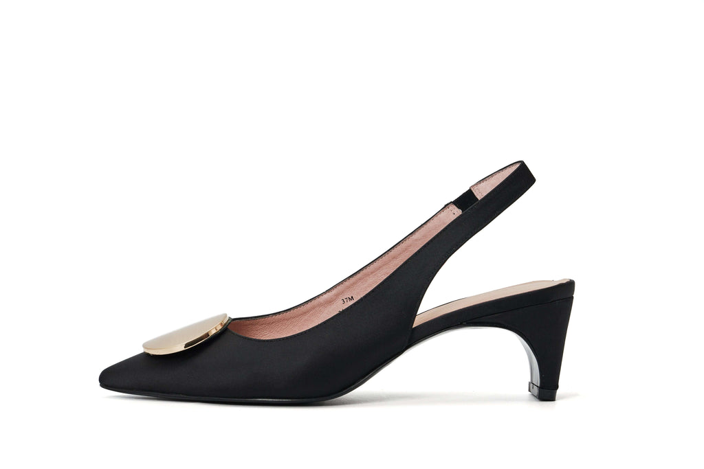 DC Ladies' Slingback Flared Heel Pumps 5250 Black - House of Avenues - Designer Shoes Online
