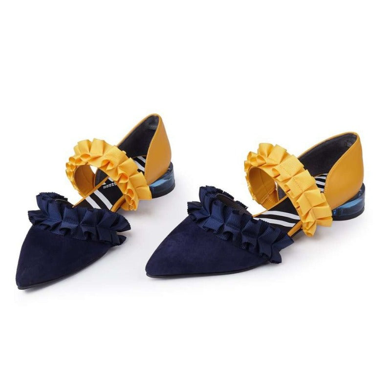 TEEN QUEEN RUFFLE d'orsay flat 5100 - House of Avenues - Designer Shoes Online