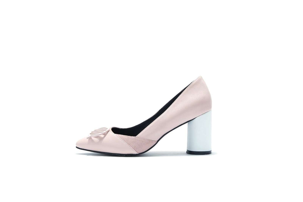 Let's Chat Motif Pillar Heel Pump 5041 - House of Avenues - Designer Shoes Online