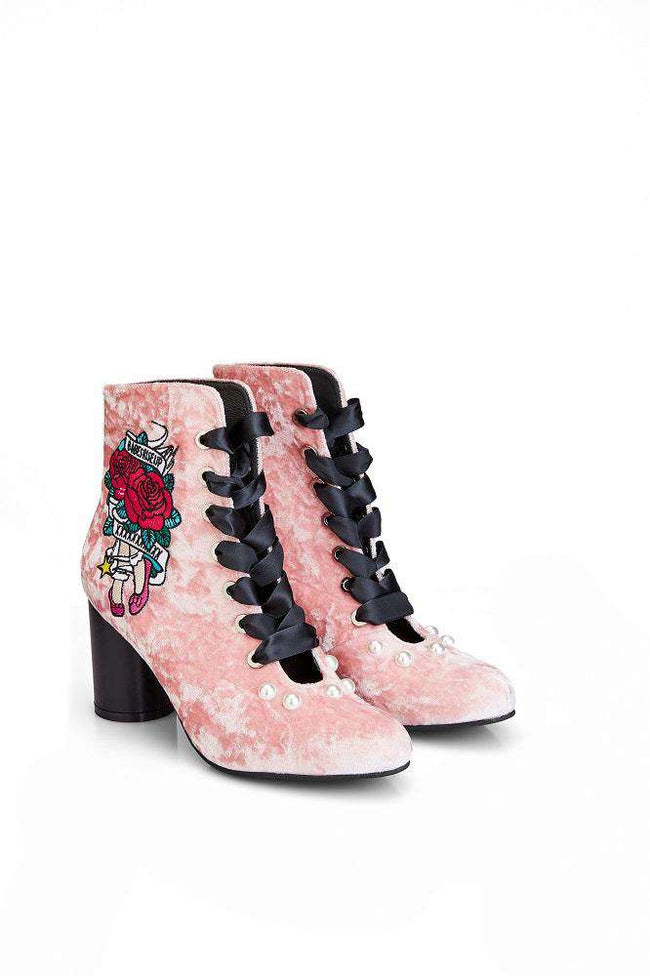 Teen Queens Embroidered Roses Pattern Lace Up Bootie 4157