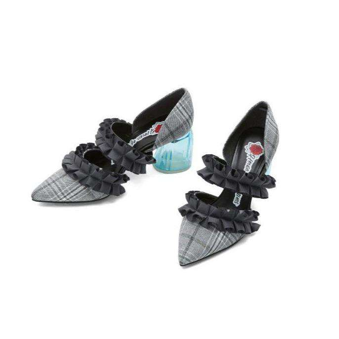 Ladies' Mary Jane Pumps Feat. Ruffle Bands 4162 Grey - House of Avenues - Designer Shoes Online 香港女鞋網店