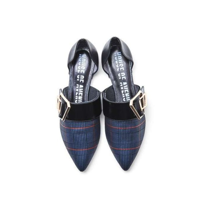 INTELLECTUAL REBELS CHECKERS D'orsay FLAT PUMP 4409 - House of Avenues - Designer Shoes Online