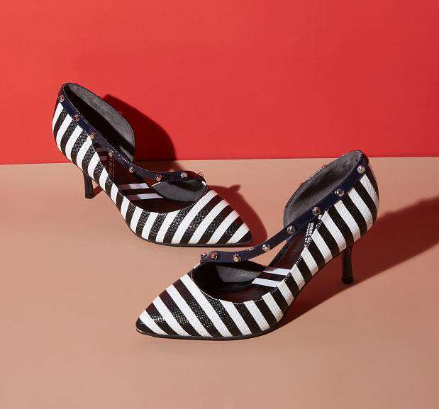 OUT OF LINE CROSS Stripe Pattern Heel Pump 4394 - House of Avenues - Designer Shoes Online 香港女鞋網店