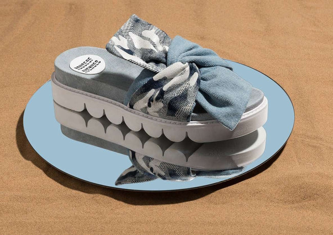 LIGHT BLUE CHUNKY BOW PLATFORM SLIPPER 5310