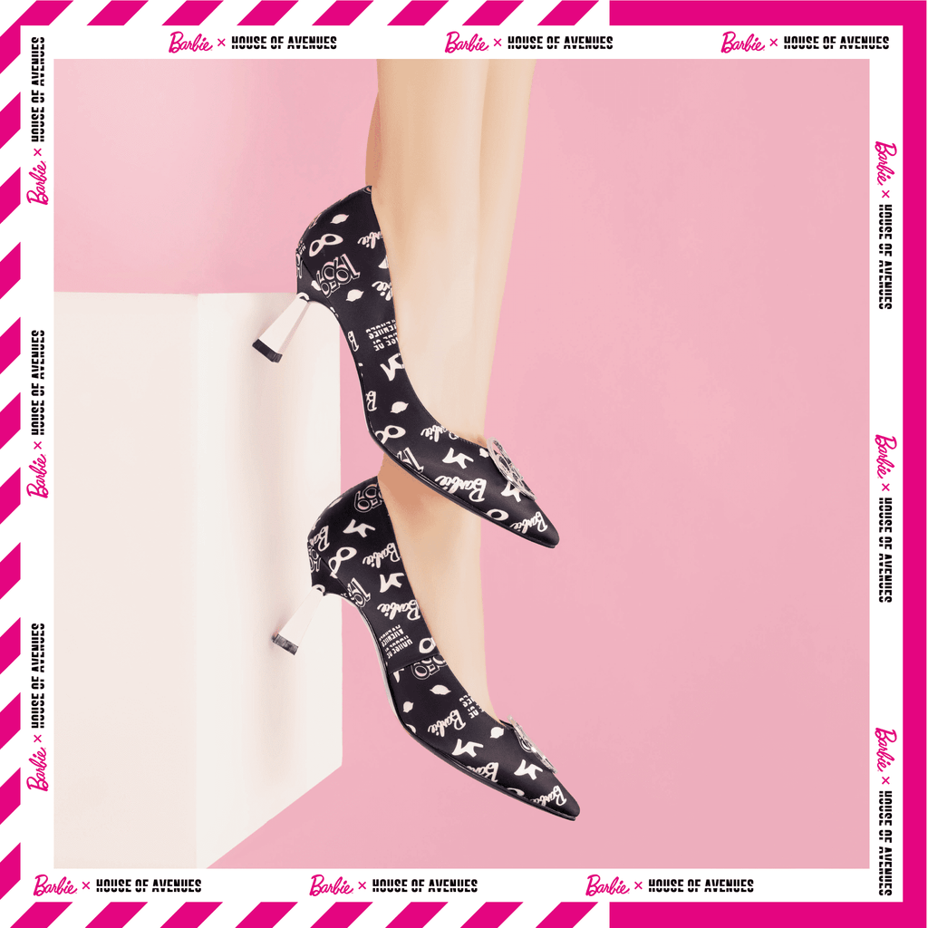 Ladies Allover Barbie Spool Heel Pumps 5418 Black - House of Avenues - Designer Shoes Online 香港女鞋網店