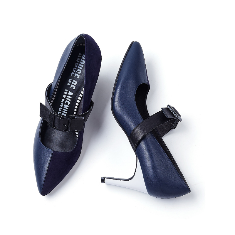 Ladies Asymmetric Mary Jane Heel Pump 5211 Navy - House of Avenues - Designer Shoes | 香港 | 女鞋 House of Avenues