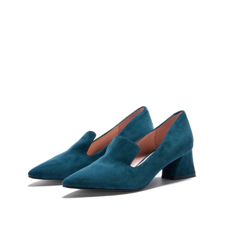 Ladies' Suede Heel Loafer 5359 Teal - House of Avenues - Designer Shoes Online 香港女鞋網店