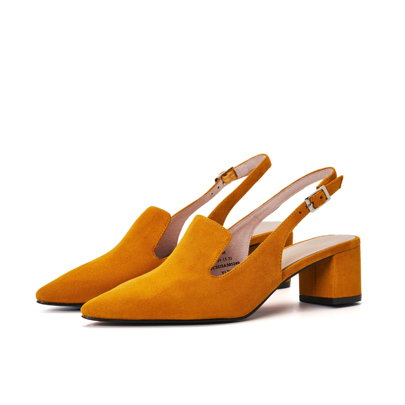 Ladies' Suede Block Heel Slingback Pumps 5249 Yellow - House of Avenues - Designer Shoes | 香港 | 女鞋 House of Avenues