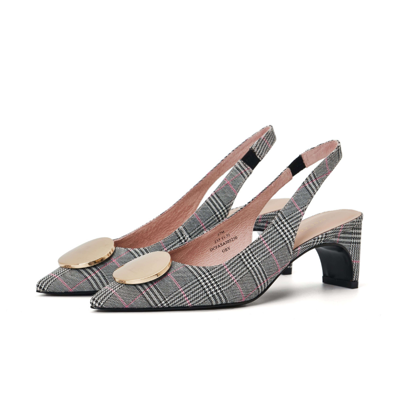 Ladies' Slingback Flared Heel Pumps 5250 Grey - House of Avenues - Designer Shoes | 香港 | 女鞋 House of Avenues