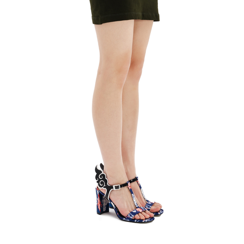 Ladies Ankle with Wings Heel Sandal 5247 Navy - House of Avenues - Designer Shoes Online 香港女鞋網店