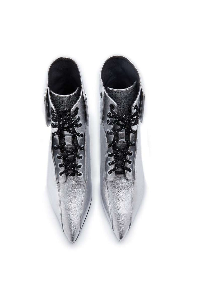 Ladies Retro Lace Up Bootie 5164 Silver - House of Avenues - Designer Shoes Online 香港女鞋網店