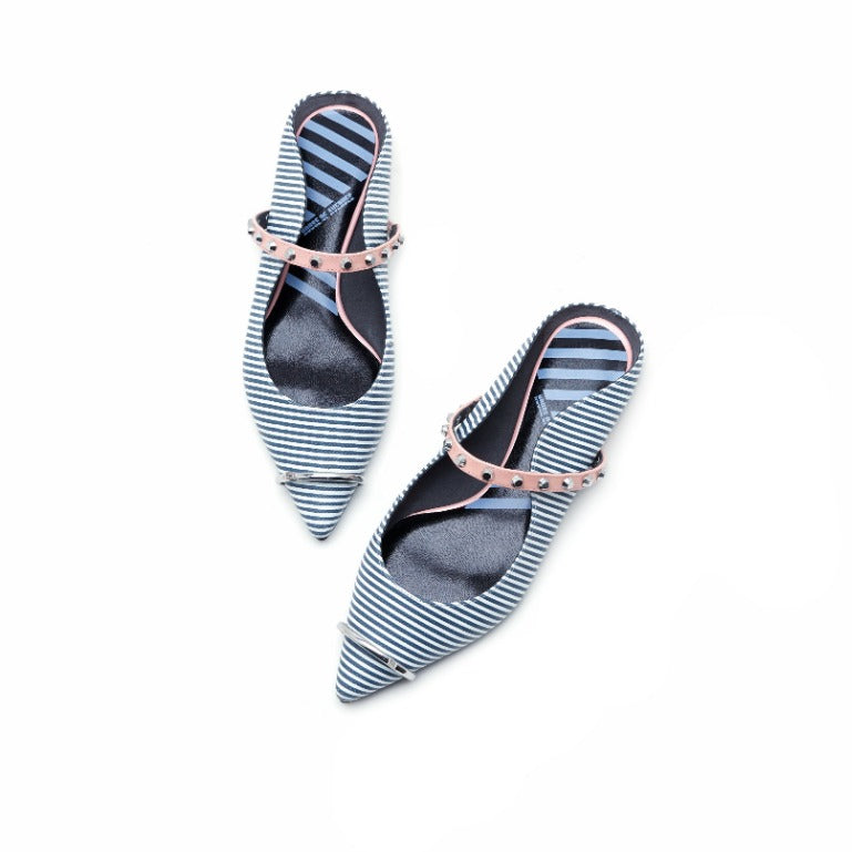 Ladies Ring Toe Stripe Flat Mule 4396 Light Grey - House of Avenues - Designer Shoes | 香港 | 女鞋 House of Avenues