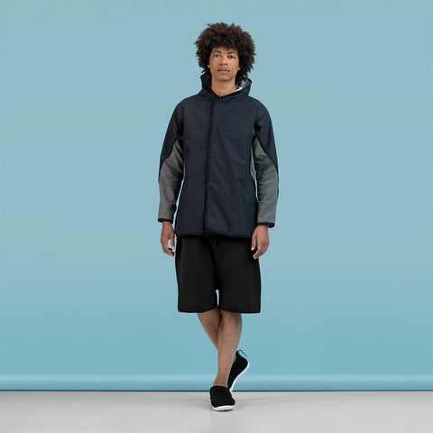 BYBORRE hooded jacket a-jacket ss19 the hybrid edition black on body on-body