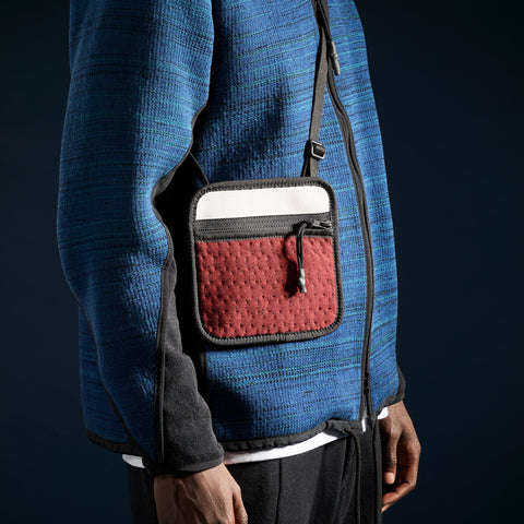 BYBORRE pouch aw19 the layered edition deep red on body