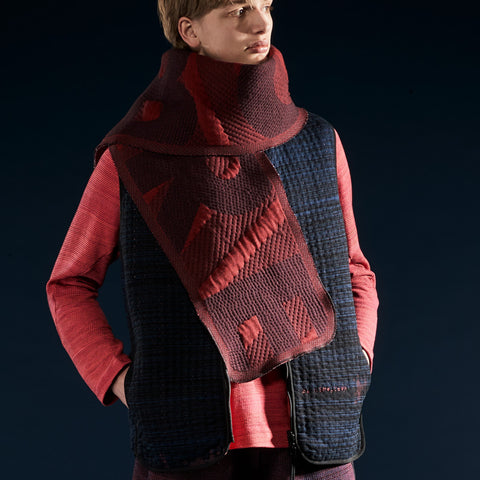 BYBORRE scarf on pattern aw19 the layered edition deep red on body front