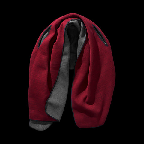 BYBORRE wrap scarf aw19 the layered edition graphite deep red
