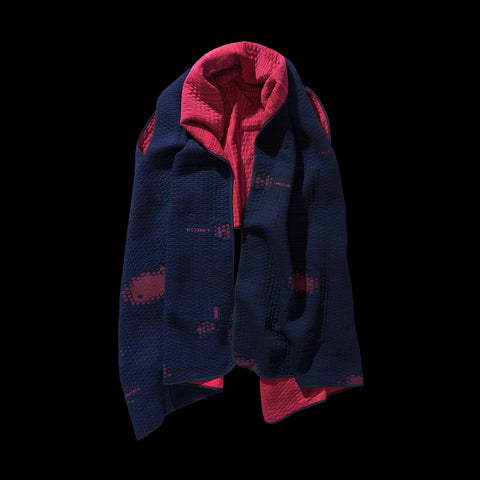 BYBORRE wrap scarf aw19 the layered edition coral night sky blue