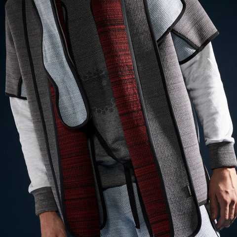 BYBORRE scarf biasbinded aw19 the layered edition graphite deep red on body