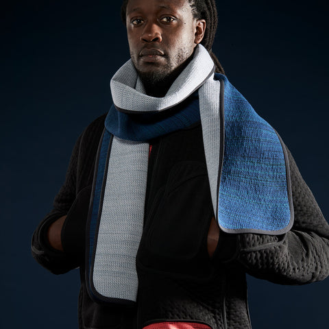 BYBORRE scarf biasbinded aw19 the layered edition dusty blue petrol on body