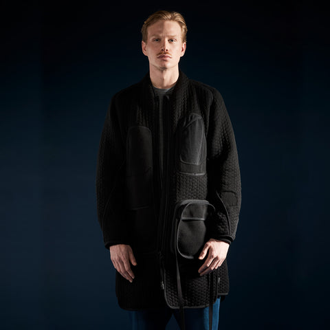 BYBORRE parka aw19 the layered edition soot black on body front