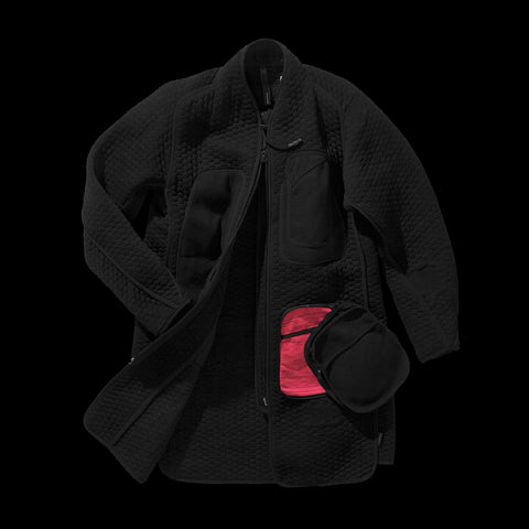 BYBORRE parka aw19 the layered edition soot black front