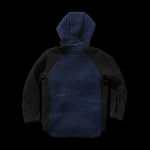 BYBORRE pm hooded jacket aw19 the layered edition soot black night sky blue back