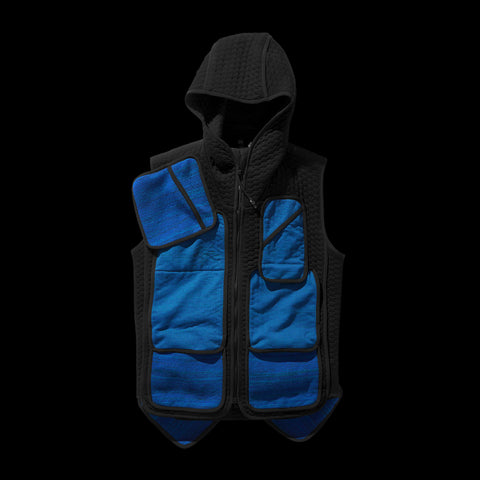 BYBORRE pm hooded vest aw19 the layered edition petrol front