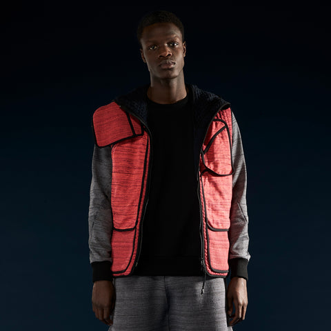 BYBORRE pm hooded vest aw19 the layered edition coral on body front