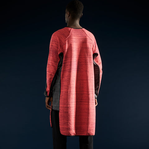 BYBORRE layer shirt aw19 the layered edition coral graphite on body back