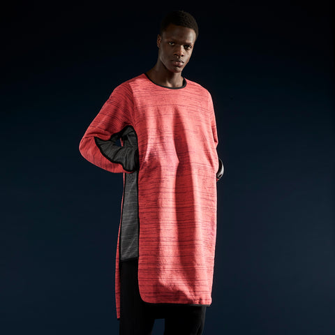 BYBORRE layer shirt aw19 the layered edition coral graphite on body front