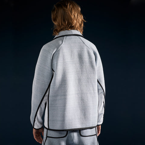 BYBORRE c jacket aw19 the layered edition foggy blue heather grey on body back