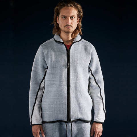 BYBORRE c jacket aw19 the layered edition foggy blue heather grey on body front