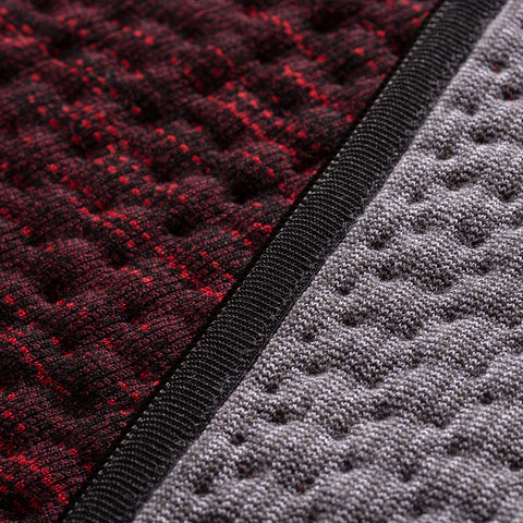 BYBORRE reversible vest aw19 the layered edition graphite deep red detail